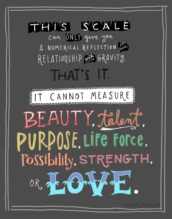 This scale can only give you a numerial reflection of your relationship with gravity